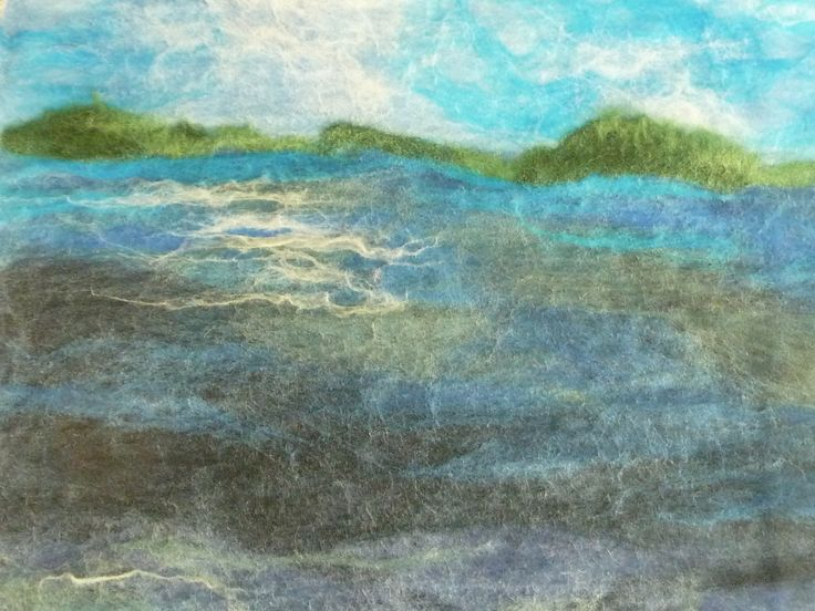 Wet-felted seascape, waiting to be made into a Notebook cover.  See more by LittleDeb at https://www.facebook.com/LittleDebFelts.