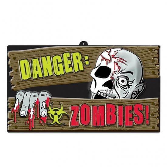 Halloween Zombie Skilt - Single. Et skilt til hoveddøren eller indkærslen - pas på der er zombier her! Perfekt til Halloween