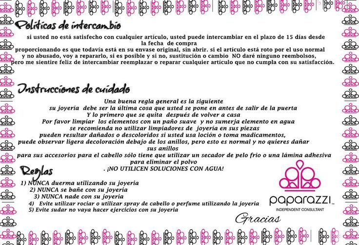Politicas de Intercambio e Instrucciones de cuidado para piezas Paparazzi Accessories, en Español