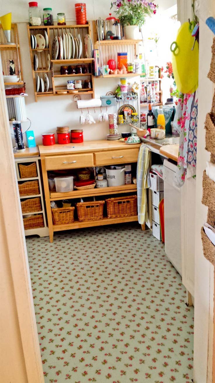 Linda 39 s charming kitchen with our rose sprig blue flooring for Cath kidston kitchen ideas