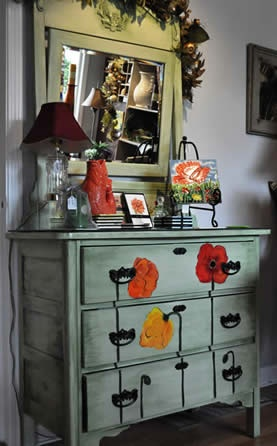 dresser with poppies dresser