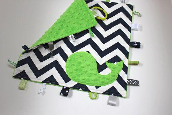 Chevron WHALE nautical baby blanket lovey - navy green shower decor - tag taggie sensory minky travel on Etsy, $24.00