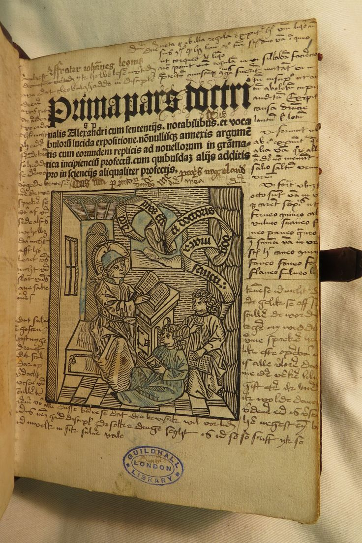Inc 2. Author: Alexander, de Villa Dei . Title: Grammatica Latina Alexandri. 1497: 1500.  Woodcut on title-page. Extensive notation in Latin and Dutch and drawings in early hands [a1r, v4].