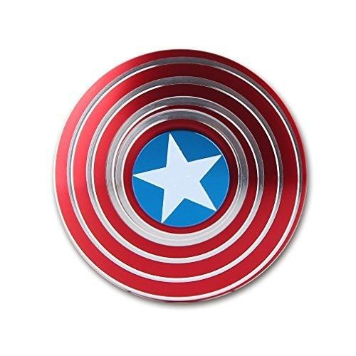 Fidget Spinner - Wonderful Captain America Shield Metal EDC Hand Spinner Toy - Spin 4-6 Minutes - Ultra Fast R188 Bearing - Great Gift for Killing Time - for Adults and Children (GoTwiddle Captain)