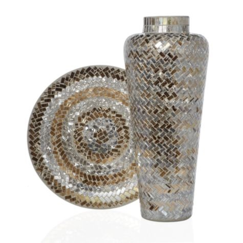 Midas Mosaic Collection from Z Gallerie #zgallerie. I think this vase, as well as the plate, will add a perfect pop of worldly glamour to the living room.