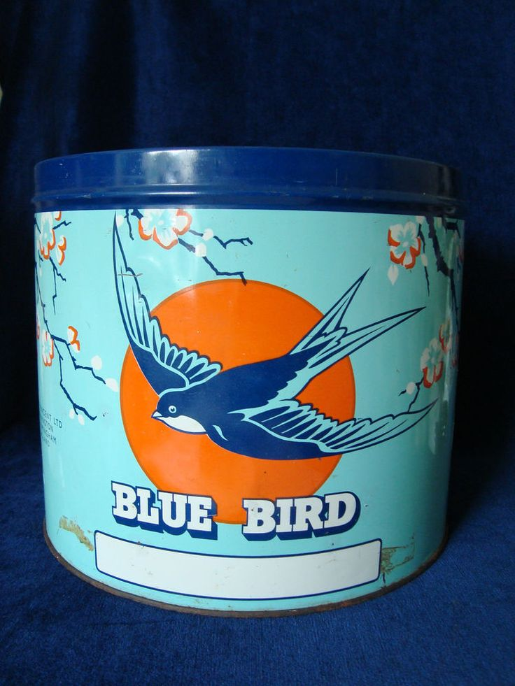 Large Blue Bird UK Toffee Tin, 1930s-50s