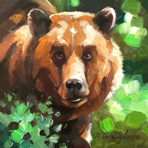 "Daily Paintworks - ""Bear"" - Original Fine Art for Sale - © Natali Derevyanko"