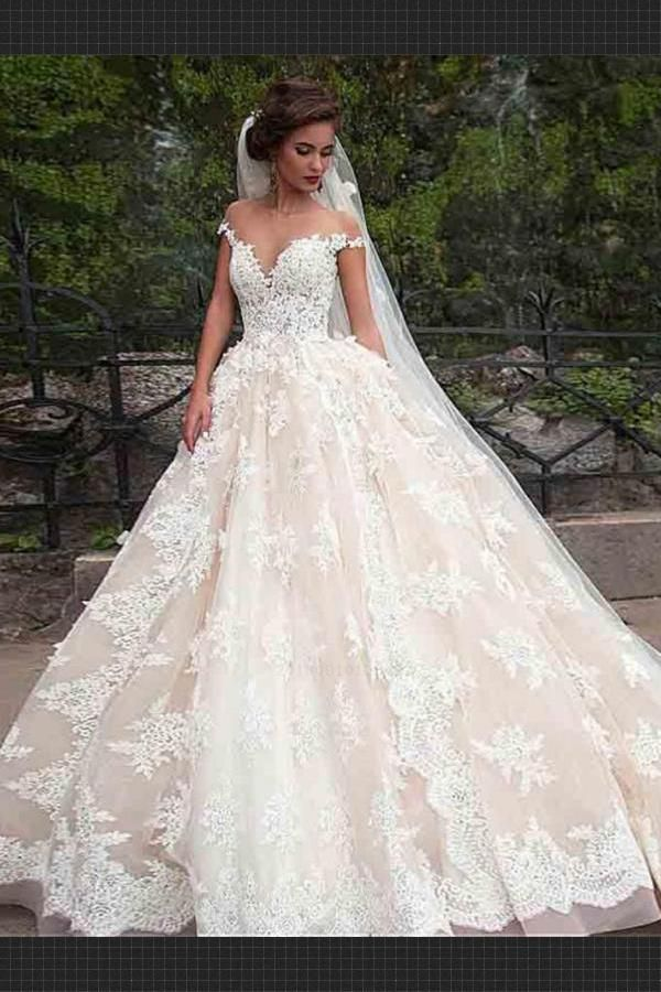 99977fefb Lace Wedding Dresses, Wedding Dresses Ball Gown, Short sleeve Wedding  Dresses, Wedding Dresses