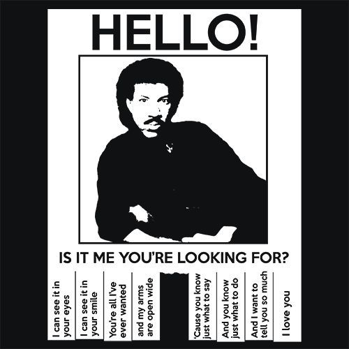 Lionel Richie Hello T-Shirt More Info Behind Lionel Richie Hello T-Shirt Lionel Brockman Richie, Jr. (born June 20, 1949) is an American singer, songwriter, musician, record producer and actor. Beginn