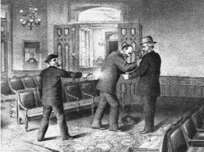 """On this day in 1881, President James A. Garfield was shot by Charles J. Guiteau, a disgruntled office seeker in Washington, D.C. As Garfield fell to the ground, Guiteau exclaimed, """"I did it. I will go to jail for it. I am a Stalwart and Arthur will be President."""" After 11 weeks of intensive care, Garfield died from an infection and internal hemorrhage. The following day, Chester A. Arthur was inaugurated as the 21st president of the United States. Guiteau was convicted of Garfield's murder…"""