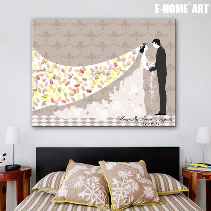 Ehome Signature d'empreintes digitales toile peinture mariée marié de mariage cadeau de mariage décoration de nombreux styles choix ( inclure 6Ink couleurs ) dans Accessoires de fêtes et d'évènement de Maison & Jardin sur AliExpress.com | Alibaba Group