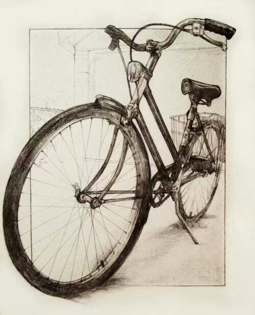 This bicycle drawing has some beautiful foreshortening.