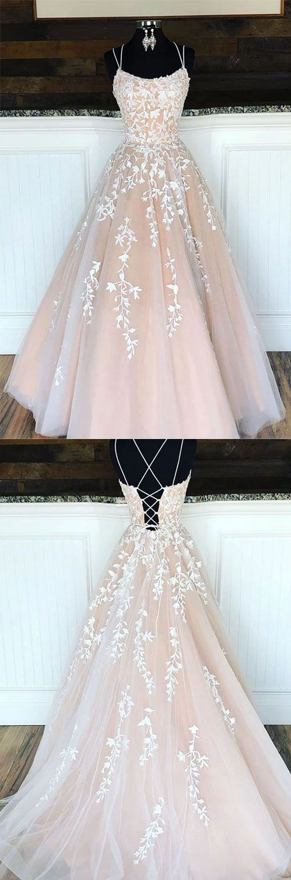 Beautiful A Line Spaghetti Straps Champagne Prom Dresses with Appliques