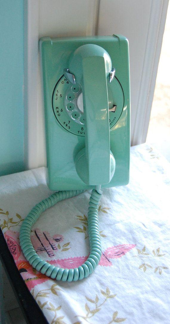 Retro Aqua Mint Green Rotary Mid Century Wall Phone, Lovely Condition, Gorgeous, Like Draper's Kitchen, Only Aqua via Etsy