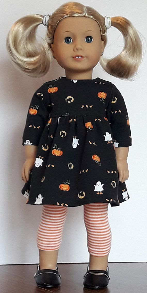 Halloweeen Print Baby Doll Style Dress And Leggings Fits American ...