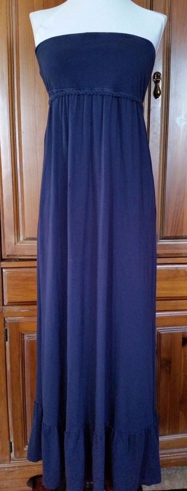 Heritage 1981 Smocked  top Strapless Maxi  Navy Blue Dress Womens size S  #Heritage1981 #EmpireWaistMaxi #SummerBeach