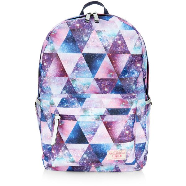 Accessorize Galaxy Geo Dome Backpack (£46) ❤ liked on Polyvore featuring bags, backpacks, purple bag, star bag, planet bags, handle bag and purple backpack