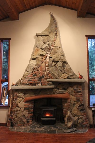 Stone and Brick Fireplace - by Stephen Cole