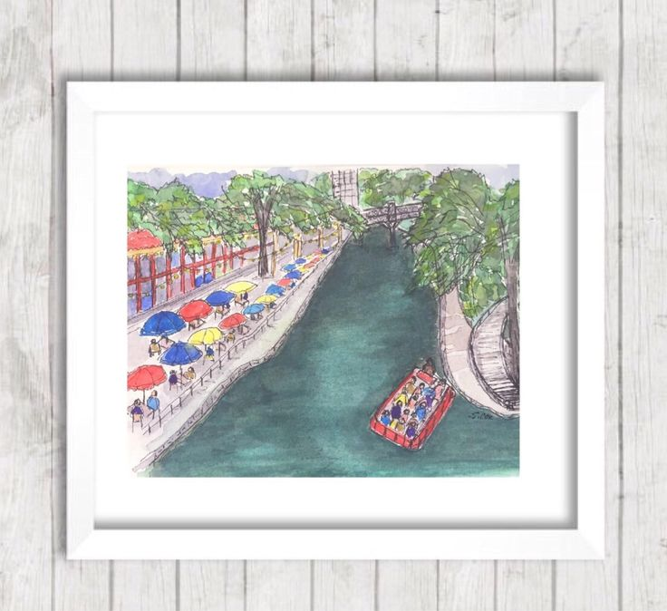 San Antonio Riverwalk Painting, Original Landscape PRINT, River boat, Travel Art, Pen and Ink, Texas art, River scene, Casa Rio Restaurant by WatercolorArtFinds on Etsy