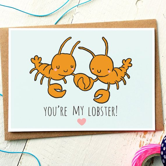 Youre My Lobster - Anniversary Love Card  Shes his lobster! Walking along the beach, holding claws....you know the story. This cute greeting card design is perfect for an Aniversary, Birthday or Valentines Day. (P.S. If you dont know the story, search for Phoebe Friends TV Show Lobster on google or youtube.) Love our cards? We also have custom packs available in quantities of 3, 5 or 10! This is the link to our 3 pack of Funny Illustrated Cards…