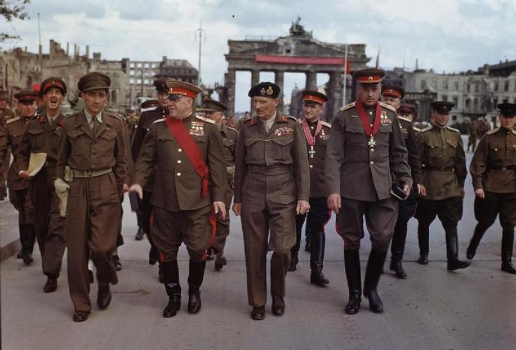 Montgomery and Soviet generals Zhukov, Sokolovsky and Rokossovsky, Berlin, July 12, 1945