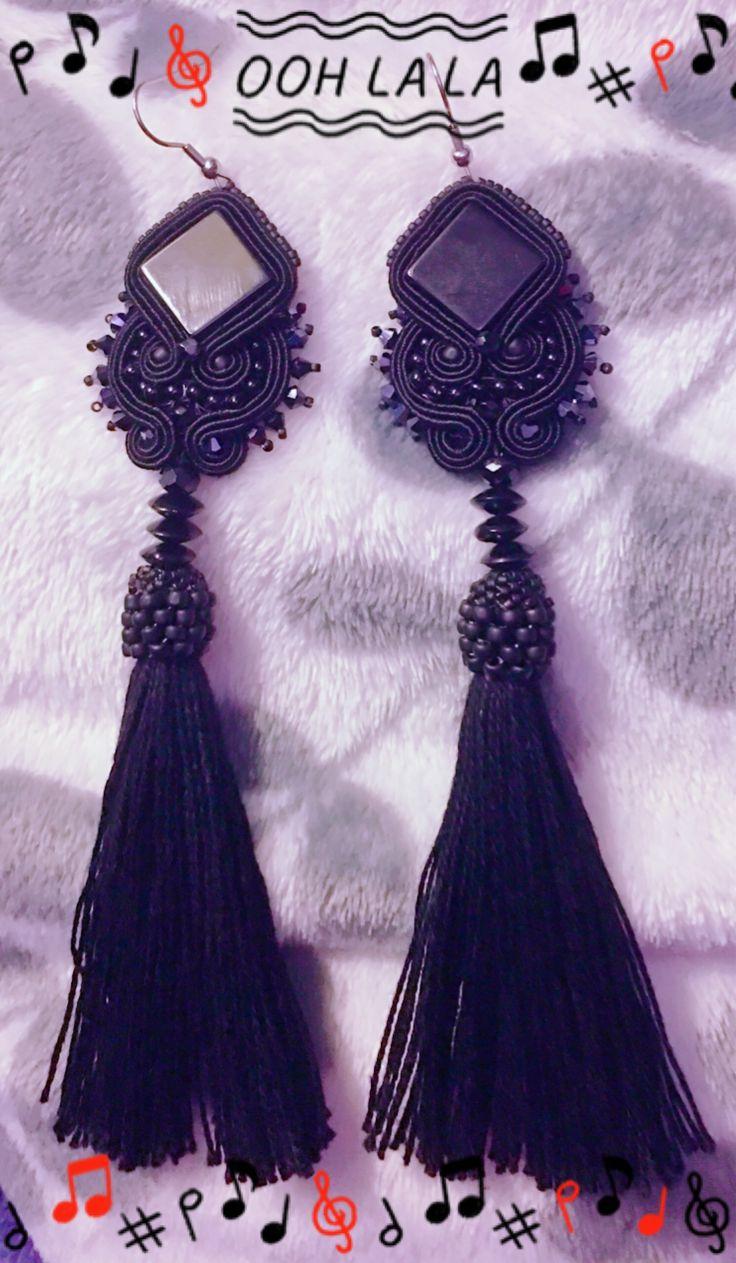 Soutache earrings rękodzieło onyks & Black