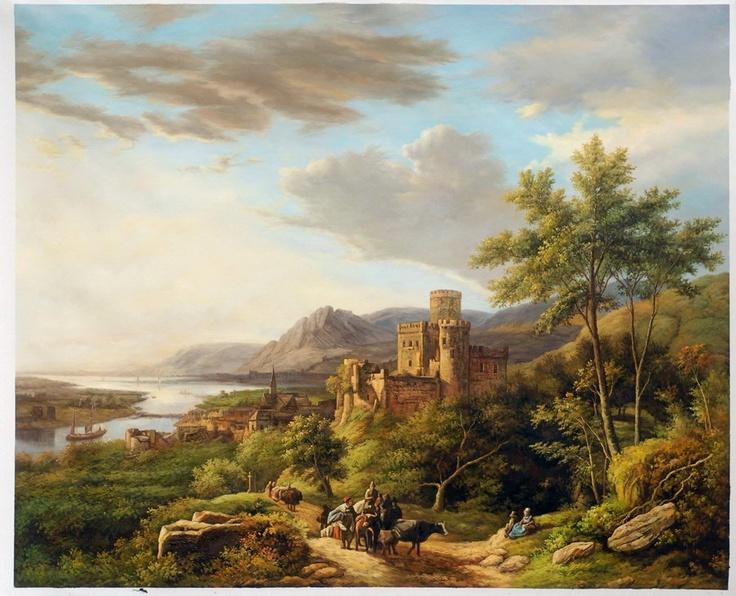 Koekkoek, Reizigers op een pad in Rheinland. 1853, 51*65 cm.
