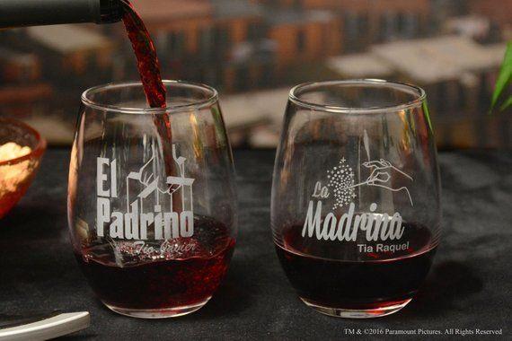 7baaec8a668 El Padrino and La Madrina Stemless Wine Glass Set with Godfather Movie Logo  & Fairy Godmother Design
