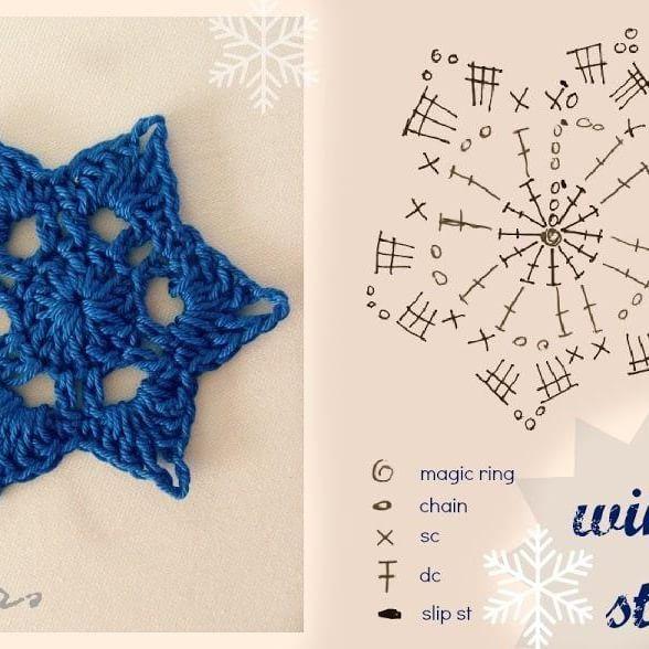Estrellas crochet con patr n patrones navidad y - Esquema punto estrella crochet ...