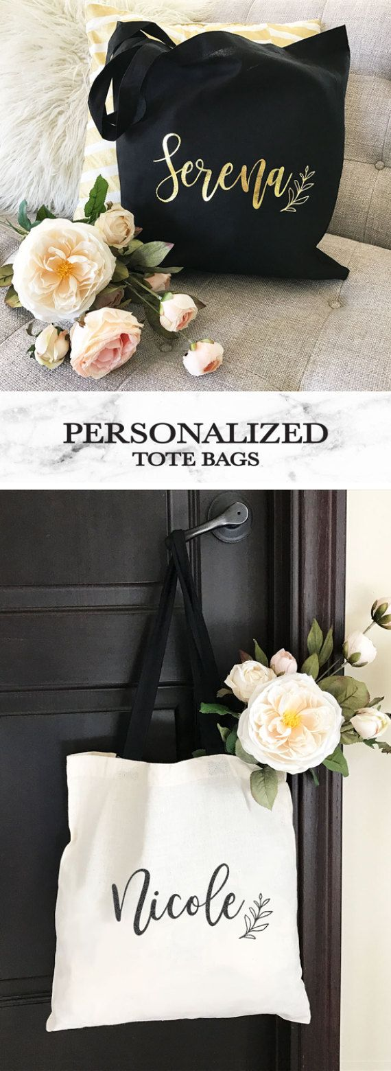 Personalized Tote Bag - Bridesmaid Tote Bag - Personalized Bridesmaid Gift Bags - Bridal Party Totes (EB3216P)