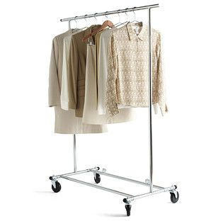Folding Commercial Garment Rack:  Made from thick, steel tubing, it's truly a commercial-grade rack.  The extra-wide base provides stability and the rugged; heavy-duty casters cross thresholds with ease.  The unit folds compactly for storage.
