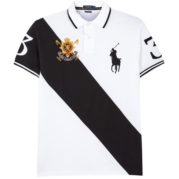 Polo Ralph Lauren Black Watch Piqué Cotton Polo Shirt ($175) ❤ liked on Polyvore featuring tops, shirts, cotton polo shirts, black polo shirt, side slit top, embroidery shirts and embroidery polo shirts