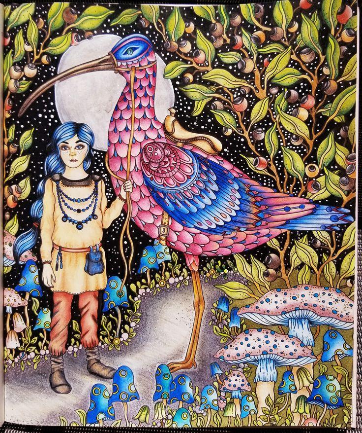 F A I R Y T A L E S / GIRL & BIRD / 2017 / Summer Nights / Hanna Karlzon / Derwent Colorsoft / Faber Castell Polychromos / Uni-Ball white & Silver pen / Spectrum Noir sparkle pens #colorpantz #derwentcolorsoftpencils #Derwent #fabercastell #fabercastellpolychromos #spectrumnoir #spectrumnoirsparklepens #adultcoloring #fairytales #girl #bird #girlandbird #summernights #hannakarlzon