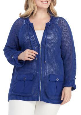 Ruby Rd Women's Plus Size Zip Front Mesh Sweater Jacket – Meditrn – 2X