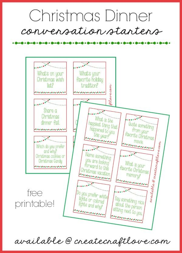 Download your free Christmas Dinner Conversation Starters at createcraftlove.com!