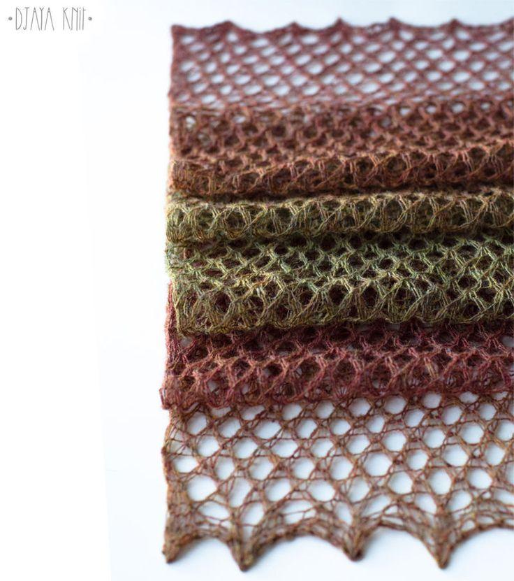 Купить Шарф ажурный шерстяной (кирпично-зеленый) - ажурный шарф, легкий теплый шарф