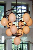 """3 Tier 11 Ostrich Eggshell Chandelier - more sizes -  finishes; black matte or rust. \""""Yes, they are real Ostrich eggs\""""."""