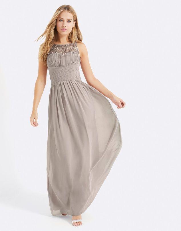 Embellished Neck Maxi Dress