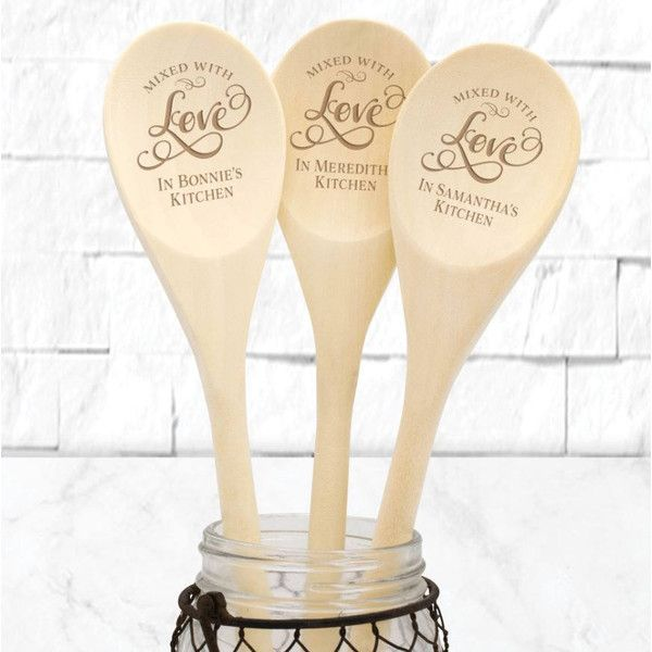 Personalized Spoon Wooden Kitchen Spoon Baking Gift Mixed With Love... ($5) ❤ liked on Polyvore featuring home, kitchen & dining, kitchen gadgets & tools, cooking utensils & gadgets, cookware, home & living, pink, wooden trolley, engraved spoons and pink utensils