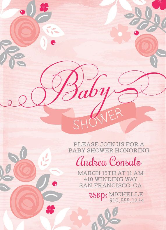 Girl baby shower invitation modern whimsical by ShoeBoxSnapShots