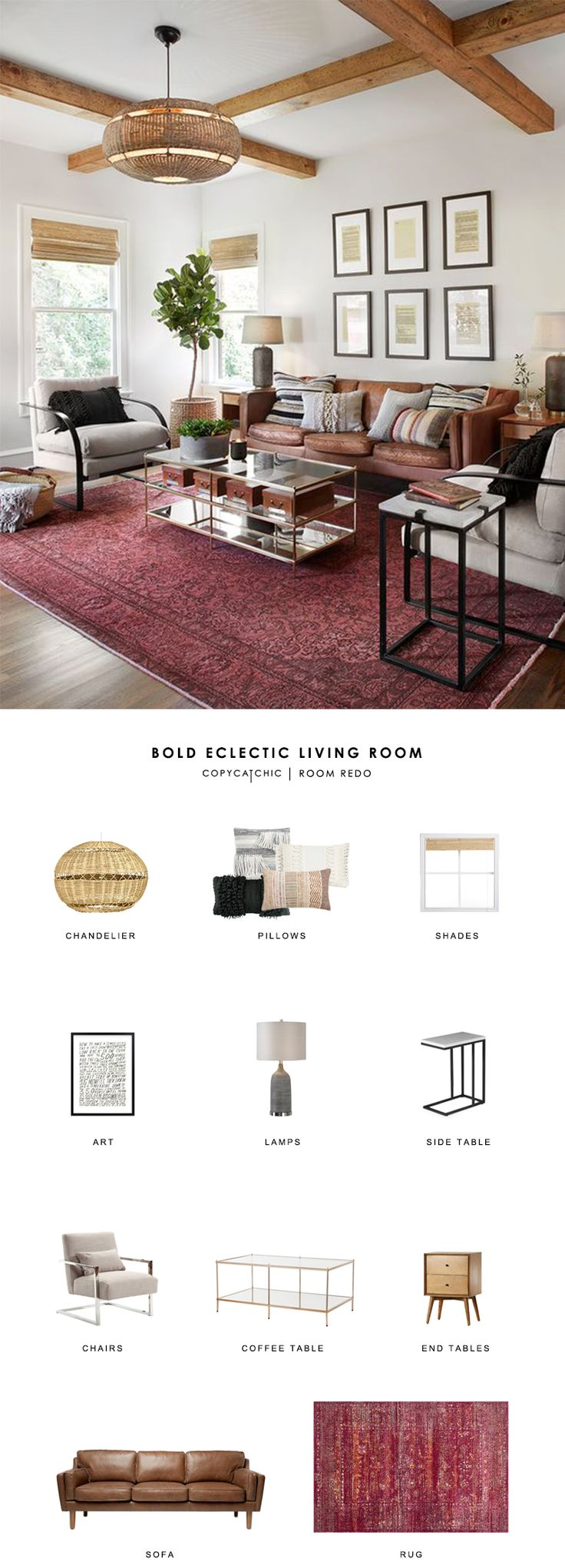 Room Redo | Bold Eclectic Living Room | Copy Cat Chic | Bloglovin'