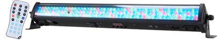 The ADJ Mega Go Bar 50 is a rechargeable lithium battery powered compact 24-inch (0.7-meter) LED lighting Bar that offers the creativity of RGB color mixing for stage or wall washing, plus the freedom to set up your fixture where ever you wish without the restrictions of power. The built-in battery will keep a charge for up to 8 hours (full on) from a full, single charge.