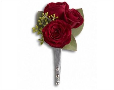 FDH King's Red Rose Boutonniere :- Nothing says romance like #Red_Roses. Red roses and seeded eucalyptus..