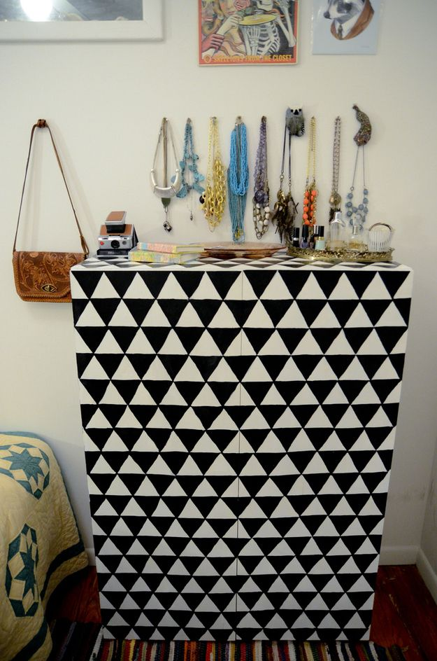 Paint a fun geometric pattern | 99 Clever Ways To Transform A Boring Dresser