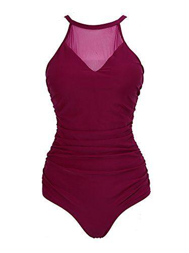 908c5b872ea #Women Vintage Ruched One Piece #Swimsuit #Sexy Mesh V Neck Swimwear Plus  Size Tummy Control Bathing Suit (3XL (US:14-16), Wine)