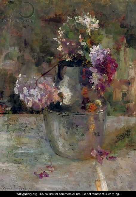 Purple Hortensia in a vase - Floris Verster