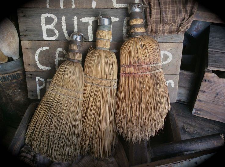 Primitive old hand whisk brooms at Sweet Liberty Homestead