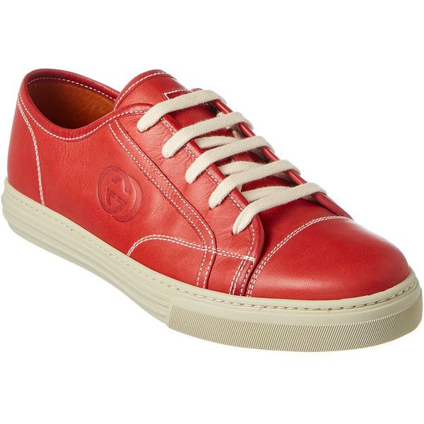 Gucci Gg Embossed Leather Lace-Up Sneaker (350 CAD) ❤ liked on Polyvore featuring men's fashion, men's shoes, men's sneakers, red, gucci mens shoes, mens rubber sole shoes, mens red sneakers, mens leather lace up shoes and gucci mens sneakers