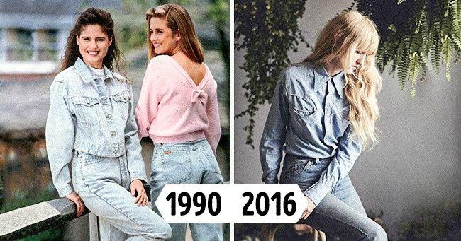Девушки в джинсах с высокой талией