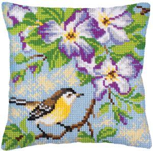 001. Набор для вышивания подушки Collection D'Art  Птички-3. 5237